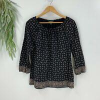 Lauren Ralph Lauren Jeans Womens Pullover Blouse Shirt Top Size M Black Paisley