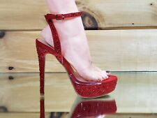 "Bella Luna Clear Toe Strap Red Rhinestone Crystal 5"" High Heel Sandal Shoes"