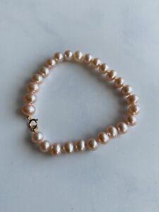 9ct Gold Pink Pearl Bracelet