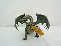 """PAPO 2005 9"""" 2 HEADED FIRE BREATHING WINGED DRAGON FIGURE PLASTIC TOY O1"""