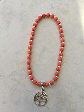 Anklet 6mm Orange Vein Beads Silver Tone Lucky Tree Life Charm Patterned Boho
