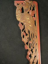 ANTIQUE CHINESE 160 YEAR OLD QING DYNASTY HAND CARVED WOODEN PHOENIX