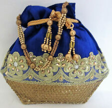 Ethnic Royal Blue Party Hand Potli Bag Wedding Bridal Indian Traditional Purse C