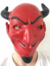 RED DEVIL DEMON LATEX MASK HORNS HALLOWEEN Scream Queens fancy dress costume