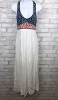 Anthropologie Flying Tomato Boho Peasant Maxi Long Dress Blue Pink White Sz XS