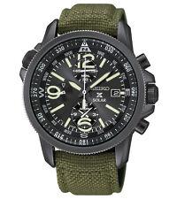 New Seiko SSC295 Solar Alarm Chronograph Military Nylon Strap Men's Watch