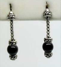 Simply Unique Design  Rhodium Plated Black Pearl Drop Post fashion Earring #7-38