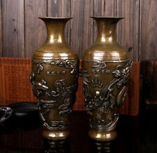 """11""""Chinese brass carved beautiful Lucky Dragon phoenix Vase Pair"""