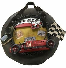 Frame with Fiat Racing Car Replica Model, Goggles, Flag: Collectible