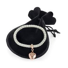 Light Rose Gold Elasticated Heart Bracelet Ladies Fashion with gift bag