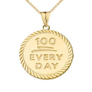"Solid 14k Yellow Gold ""100 Every Day "" Rope Disc  Pendant Necklace"