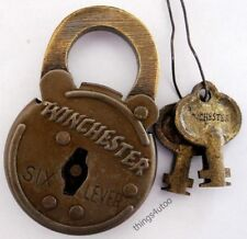 Old West Winchester 6 lever lock rifle Steel Padlock #2306