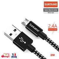 Câble Chargeur Micro USB 2.4A Charge Rapide Nylon Tressé Samsung HUAWEI Sony 2M