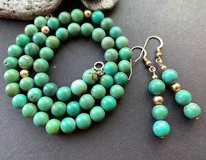 14k Gold Filled Turquoise Bead Necklace & Earrings Tianguis Jackson Box