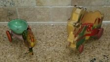 (2) Vintage / Antique Pull Toys Tin Metal Cardboard Rooster Chicken Rabbit Bunny