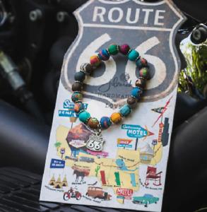 NEW JILZARA Handmade Clay Beads DESTINATION ROUTE 66 MULTI DAHLI 8mm Bracelet