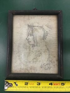 Antique Native Man Bust Pencil Drawing By Wyatt Eaton Done 1892 Canada