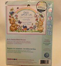 Dimensions God's Babies Birth Record Mini Counted Cross Stitch Kit 6802 NIP 1999