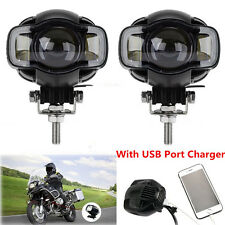 2x Motorcycle LED Spot Driving Fog Lamp Auxiliary Light DRL w/ USB Charging Port