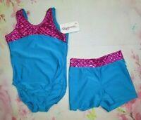 NEW Leotard Shorts Set Size 8-10 MC Child Gymnastics Dance Lot of 2 Pink Blue M