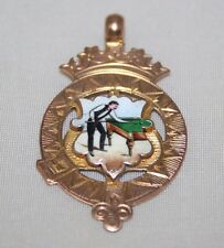 Superb Antique 9ct Rose Gold Enamel Snooker Billiards Pool Fob Medal 1911