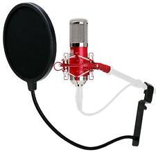 Studiomikrofon Großmembran Mikro Kondensator Recording Mic Popschutz Set Rot