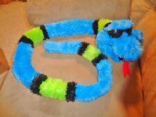 "Snake Blue Sunglasses Green Black Stripes Lg 57"" Stuffed Plush Silky Soft"