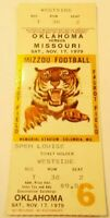 1979 Oklahoma Sooners Missouri Tigers Football Ticket Stub