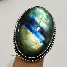 Labradorite 925 Sterling Silver Ring Meditation Ring Women Jewelry Size 7.5 XX12