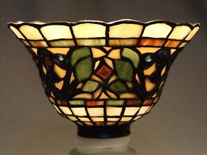 """Stained glass shade Tifffany style lamp light fixture 2 1/4"""" metal fitter"""
