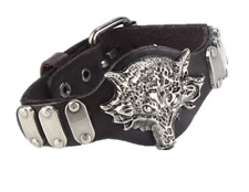 "MEN/ Women Punk Wolf Black Genuine Leather Wristband Bracelet /Bangle 7.7-9.2"""