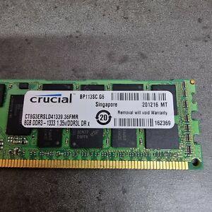 Crucial CT8G3ERSLD41339 8GB DDR3 Registered ECC PC3-10600 2Rx4 Server Memory RAM