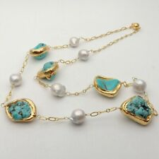 "32"" White Keshi Pearl Blue Turquoise 24 K Yellow Gold Plated Long Necklace"