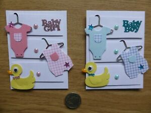4 Large detailed 3D Cute New Baby Girl & Boy sweet 3D handmade card toppers
