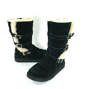 UGG Australia Maddi Womens Casual 1001520 Black Tall Zip Buckle Boots Size 5M
