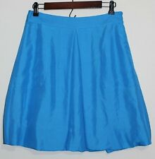 New Women's Martin + Osa Blue 100% Silk Single Pleat Bubble Hem Skirt Size: 4