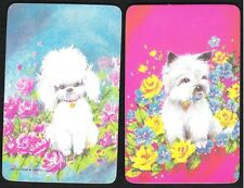 #915.003 Blank Back Swap Cards -MINT pair- Puppies on pink & blue backgrounds