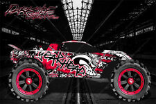 "TRAXXAS RUSTLER GRAPHICS DECALS WRAP ""GEAR HEAD"" RED FITS OEM BODY PARTS"