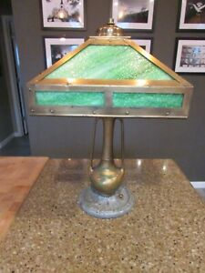 Antique Mission Arts & Crafts Green Slag Stained glass Lamp SHADE ONLY