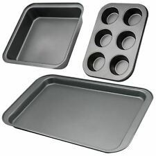 NON STICK 3PC CUPCAKE CAKE BAKING & ROASTING TRAY SET OVEN MUFFIN PAN TIN SET