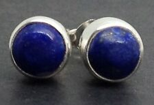 Real Lapis Lazuli round Stud Earrings Solid Sterling Silver, 6mm Actual Ones. UK