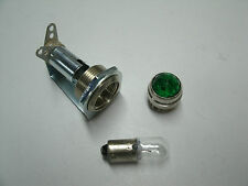 Tube amp pilot light assembly, jewel, and #47 bulb, green jewel,  USA made