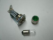 Tube amp pilot light assembly, jewel, and #47 bulb, green jewel,  USA made