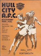 Hull City Tigers Official Programme v Portsmouth September 18 1971