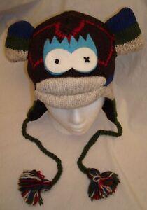NWT deLux Argyle SOCK MONKEY HAT knit ADULT costume FLC LINED cap Toque beanie