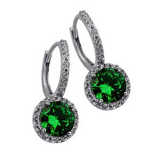2.49CT WOMENS GORGEOUS HALO DROP EMERALD EARRINGS 14K WG Plated Over 925 SILVER