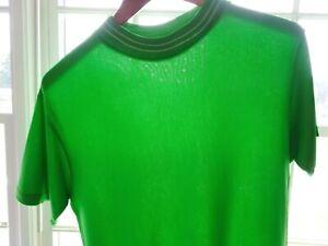 Vtg 60s Lancashire Bright Green Acetate Distressed MOD Surf Rockabilly T-Shirt