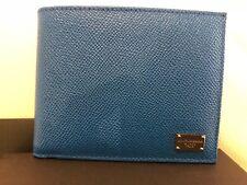 Dolce & Gabbana D&G Mens Leather Wallet Blue NEW