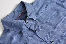 Corneliani Blue Checked Button Down Collar Dress Shirt Size: 17.5/36.5