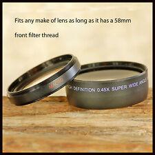 58mm High Definition 0.45x Wide Angle + Close Up Macro lens 4 Canon Nikon Sigma